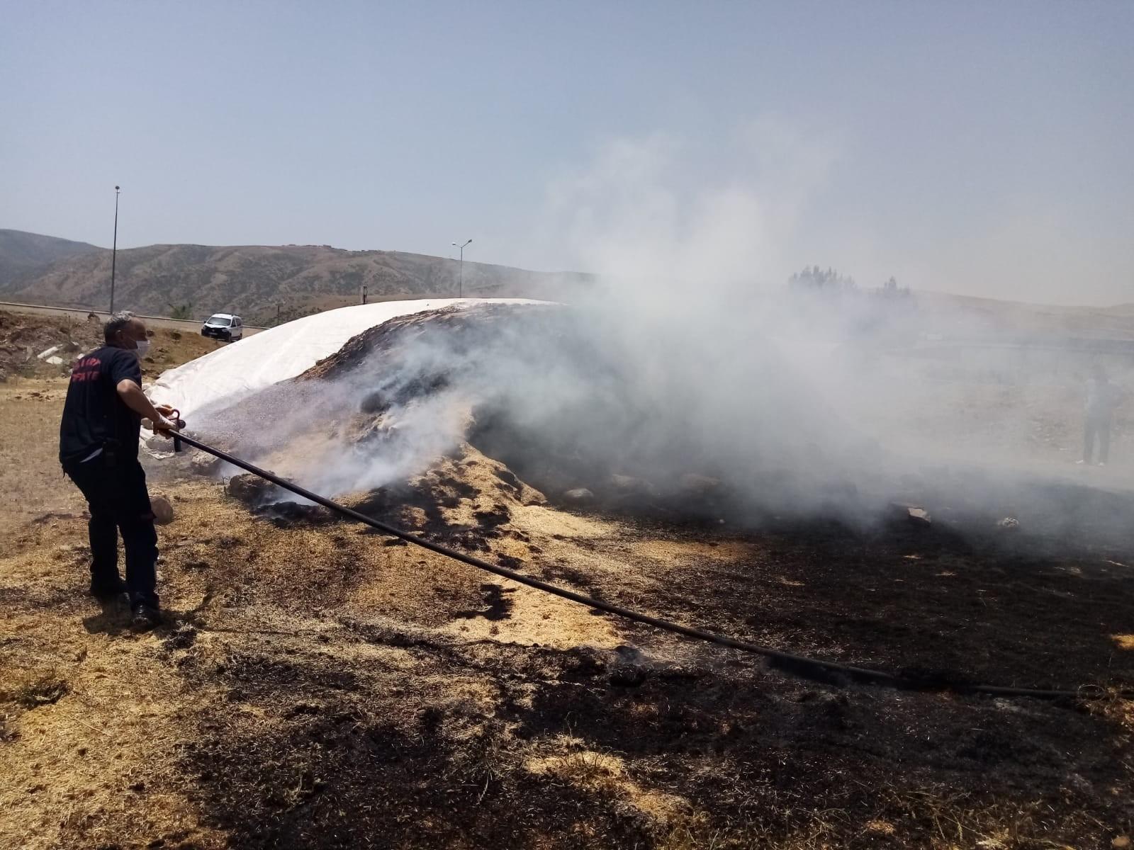 Siirt'te yangında samanlar kül oldu