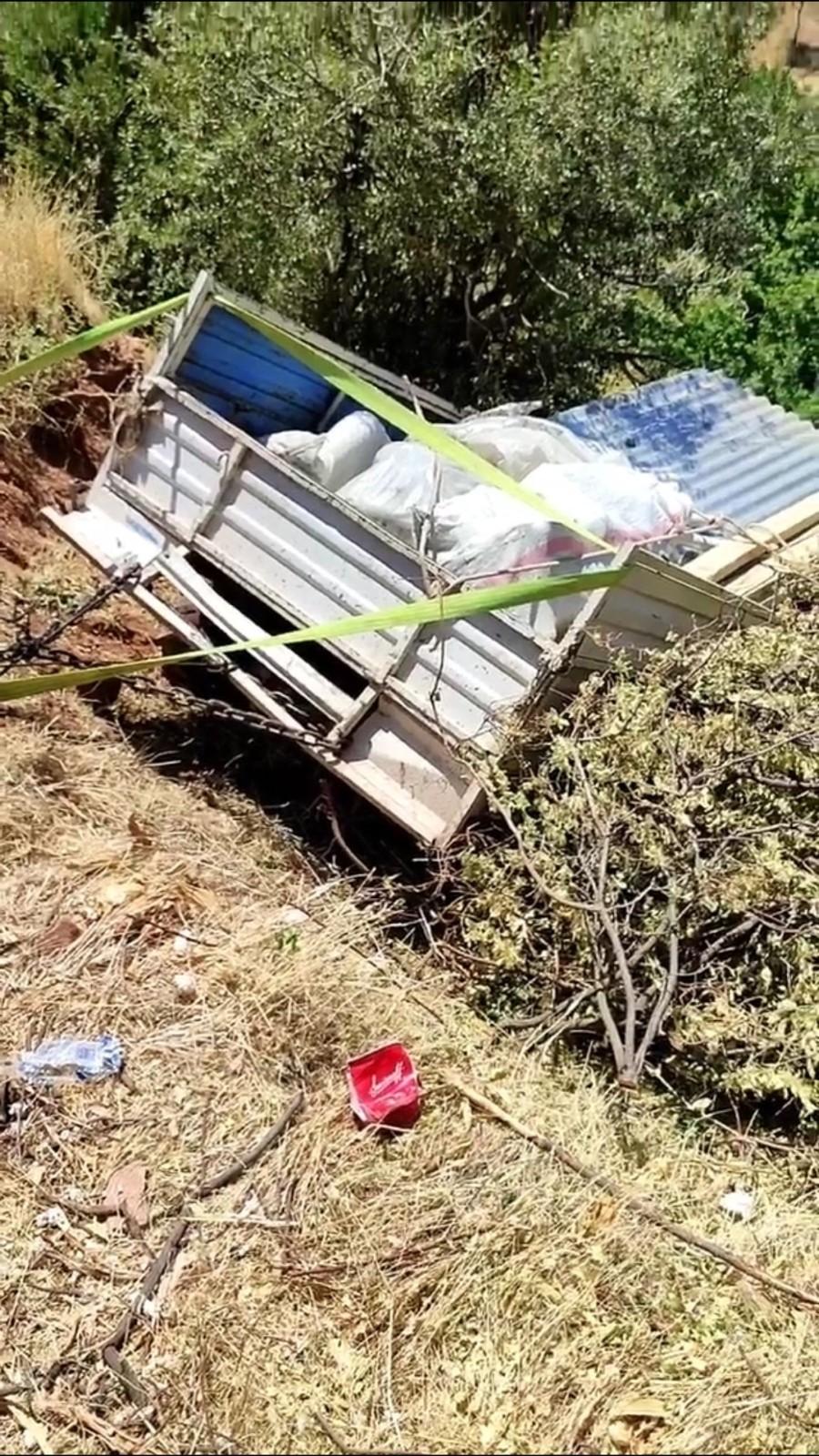 Siirt'te tarım aracı bahçeye uçtu, sürücü kazayı hafif atlattı